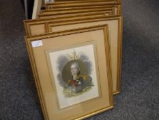 Set of eight coloured engravings of prominent Continental personalities from the Napoleonic Wars,