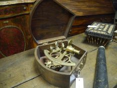 Brass marine sextant by Sestrel London, 20th century, serial no. 97887, in a fitted mahogany case.