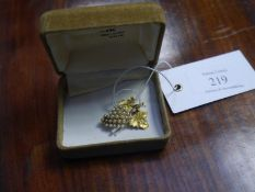Small yellow metal and seed pearl brooch, late 19th/early 20th century, modelled as grapes and