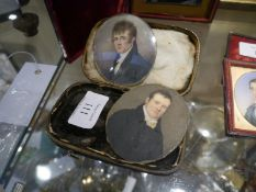 Two 19th century portrait miniatures, oval, one a young gentleman c. 1830, the other c. 1850. (2)