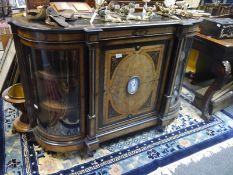Mid-19th century inlaid walnut and part ebonised credenza, the rectangular top with bowed ends above