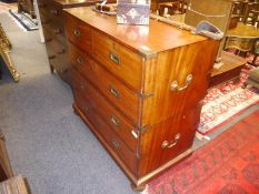 19th century brass-bound mahogany campaign chest, in two halves, the upper section with two short