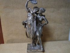 After Etienne Henry Dumaige (French 1830-1888), Dancing Maidens, silvered bronze, cast as two