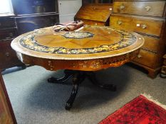 Mother-of-pearl and marquetry inlaid part ebonised dining table in 19th century style, the