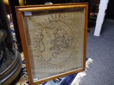Early 19th century silk needlework map sampler, c. 1820, England and Wales, indistinctly signed