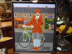 """Peter Heard (b. 1939), """"The Cyclist"""", signed lower right, oil on board, Portal Gallery, Grafton St"""