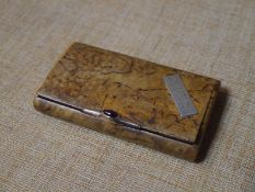 Russian Imperial presentation gold-mounted snuff box, of highly figured birch, the 14ct gold clasp