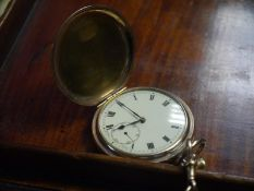 Late 19th.c gold plated full hunter pocket watch, the cream enamel dial with Roman numerals and