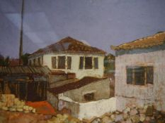 George McGavin (Contemporary), Greek Houses, monogrammed lower left, pastel, framed. 33cm by 50cm