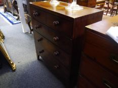 Victorian mahogany chest of drawers, the rectangular top above two short and three long graduated