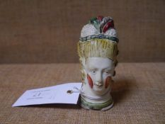 Unusual late 18th century creamware patch box modelled as the head of a lady in powdered wig,