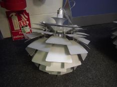 Reproduction silver coloured spun aluminium 'Artichoke' ceiling light after Poul Henningsen for