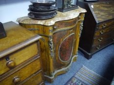 Small marble-topped boulle work credenza, in 19th century style, the scalloped shaped demilune top