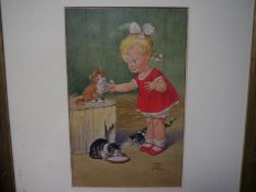 """Mabel Lucie Attwell (1879-1964), """"Feeding Pussy"""", signed lower right, watercolour, framed. 25cm by"""