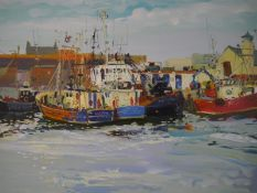 James Harrigan (Scottish, b. 1937), Fishing Boats in Girvan Harbour, signed, oil on board, in a