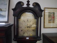 George III oak longcase clock, the hood with swan neck pediment and fluted columns enclosing a