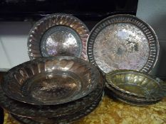 Group of Ottoman/Islamic copper dishes, 19th century, of various sizes and shapes, some gadrooned,