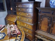 George III oak chest on chest, the moulded cornice above two short and three long graduated