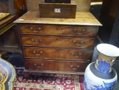 Small George III mahogany chest of drawers, with moulded rectangular top above four long graduated