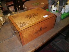 Regency inlaid bird's eye maple work box, the cover and front decorated with stylised foliate inlay,