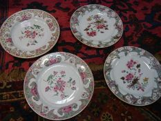 Two pairs of 18th/early 19th century Chinese Export porcealin plates, each in the famille rose
