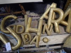 Group of giltwood letters, R, U, A, A, H, L and Gd, together with three smaller letters a, n, d