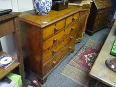 Early Victorian mahogany chest of drawers, the moulded rectangular top above two short and three