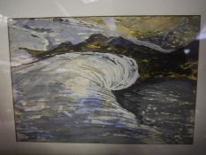 20th Century School, The Wave, watercolour, unsigned, framed. 21cm by 31cm