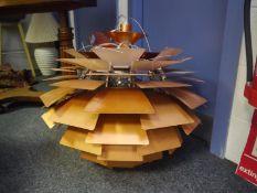 Reproduction copper coloured spun aluminium 'Artichoke' ceiling light after Poul Henningsen for