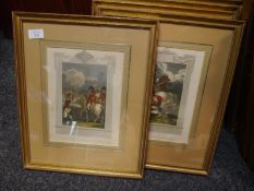 A set of twelve coloured engravings of battles, scenes and figures from the Napoleonic Wars, pub.