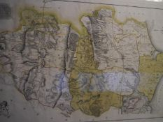 """After James Dallaway, """"Rape of Chichester"""", an engraved map, pub. Keele, 1815, framed. 30.5cm by"""