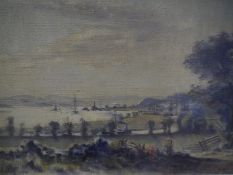 """Stirling Malloch (Scottish 1865-1901), """"The Clyde at Bowling"""", signed lower left, dated 1890 and"""