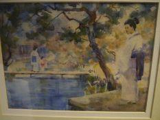 George Henry R,A,m R.S.A., R.S.W. (1858-1943), Japanese Girl Fishing, signed upper left,