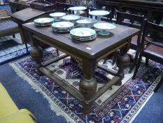 Continental oak centre table in 17th century style, the rectangular top raised on boldly carved