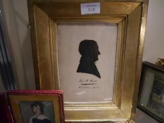 Early 19th century portrait silhouette of Thomas W. Reid, inscribed and dated 10th October 1838,