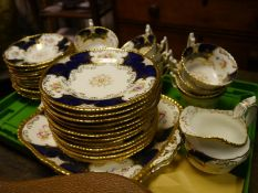 Coalport porcelain tea service, c. 1900, in gadroon cobalt pattern no. 2665, comprising twelve
