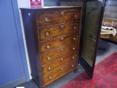 19th century Continental mahogany chest of drawers, the rectangular top with canted corners above