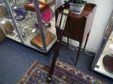 19th Century mahogany marine stick barometer, the door enclosing ivory thermometer and scale, with