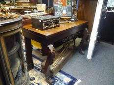 Late 19th century mahogany side table, with pedimented backboard over a rectangular top, raised on