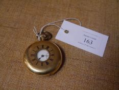 18ct yellow gold full Hunter gentleman's pocket watch, the white enamel dial with Roman numerals and