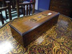 Late 19th century inlaid rosewood and mahogany Swiss music box, Nicole Freres, Geneva, the cover
