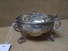 George V silver footed bowl, D & J Welby, London 1911, in 17th century style, the bowl chased with