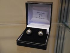 Pair of 9ct gold grey and white cultured pearl double sided earrings, post fitting.