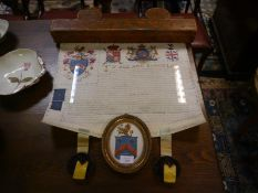 George III cased Grant of Arms, to James Trimmer to take the arms and name of Shotter, painted and