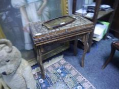 Late 19th century Damascus inlaid backgammon table, the rectangular top opening to a recessed board,