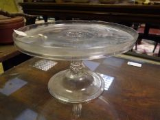 George III glass tazza, c. 1800, the galleried top on a fluted baluster standard, raised on a