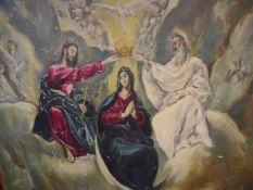 After El Greco, Coronation of the Virgin, oil on board, unsigned, framed. 0.98m by 0.98m