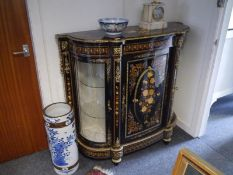 Striking ebonised marquetry inlaid and gilt-metal mounted credenza in 19th century style, the top