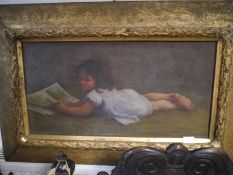 Sarah Elizabeth Whitehouse (1854-1933), Portrait of a Young Girl Reading, oil on canvas, signed