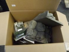 A box of Faller and other railway modelling landscape, trees and accessories